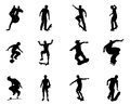 Skateboarder silhouette outlines very high quality and highly detailed skating skateboarders performing lots of tricks on their Stock Image