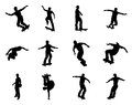 Skateboarder silhouettes very high quality and highly detailed skating silhouette outlines skateboarders performing lots of tricks Royalty Free Stock Images