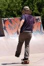 Skateboarder Skating at a Skate Park Royalty Free Stock Photo