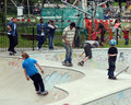 Skateboarders in park boys enjoy skateboarding clissold london Royalty Free Stock Images