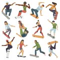Skateboarders people tricks silhouettes sport extreme action active skateboarding urban young jump person vector Royalty Free Stock Photo