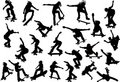 Skateboarders silhouettes Royalty Free Stock Photography