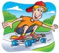 Skateboarding teen riding on sidewalk cartoon illustration of a teenaged boy wearing a red ball cap a skateboard the Royalty Free Stock Image