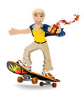 Skateboarding teenager on a skateboard on white background Royalty Free Stock Images