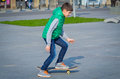 Skater boy in the downtown of craiova romania Stock Photo
