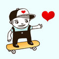 Skater boy drawing Stock Photo
