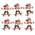 Skater Boy Jumping Cartoon Sprite Royalty Free Stock Photo