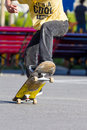 Skater close up view of a jumping on skateboard Royalty Free Stock Photography