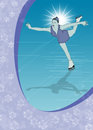 Skater girl ice dance background invitation poster or flyer with space Stock Photo