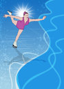 Skater girl ice dance background invitation poster or flyer with space Stock Image