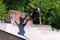 Skater Riding a Skate Ramp Royalty Free Stock Image