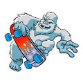 Skater yeti ,Sasquatch cartoon Royalty Free Stock Photo