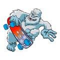 Skater yeti ,Sasquatch cartoon Royalty Free Stock Photo