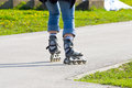 Skating on the rollerblades woman Royalty Free Stock Photography