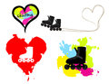 Skating vector set isolated collection of and heart colorful illustrations and silhouettes Royalty Free Stock Photography