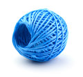 Skein of blue plastic string isolated