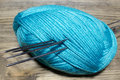 Skein fluffy blue yarn Royalty Free Stock Photo