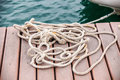 Skein of rope on the mooring in port Royalty Free Stock Photos