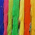 Skeins of dyed silk Royalty Free Stock Photo