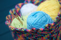 Skeins of wool closeup shot blue skein ball in handmade crocheted multicoloured basket with crochet hooks in background Stock Image