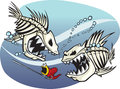 Skelefish a pair of wicked cartoon skeleton fish vector and high resolution files available Stock Photo