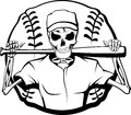 Skeleton baseball batter black and white vector illustration of a player with a bat over his shoulder and a behind him Royalty Free Stock Images