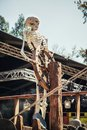 Skeleton behind the helm of a ship on the Elf Fantasy Fair