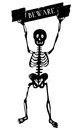 Skeleton with beware sign illustration of a funny human holding a isolated on white background Royalty Free Stock Photo