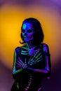 Skeleton bodyart with blacklight Royalty Free Stock Photo