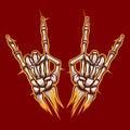 Skeleton bones hands rock music sign