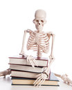 Skeleton with books isolated on white Royalty Free Stock Image