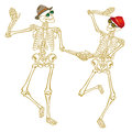 Skeleton couple a dancing holding hands Stock Photography