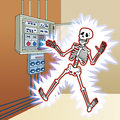 Skeleton with electric shock at the control panel Stock Images