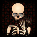 Skeleton gambler with poker cards vector illustration Royalty Free Stock Photography