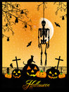 Skeleton on halloween illustration cemetery and pumpkins for Stock Photography