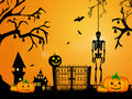 Skeleton for halloween illustration of pumpkin in a cemetery on Royalty Free Stock Photography