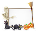 Skeleton halloween sign or banner with orange pumpkins and black witch s cats witch s broom stick and cartoon character Stock Images