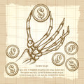 Skeleton hand with coin vintage poster