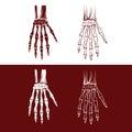 Skeleton hands body set of art dot Royalty Free Stock Images