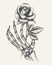 Skeleton hands with rose flower