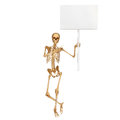 Skeleton holding a sign board Stock Photo
