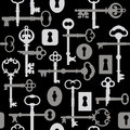 Skeleton Key-Lock Pattern_Gray Royalty Free Stock Photo