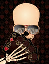 Skeleton playing poker vector illustration Stock Photography