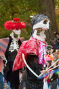 Skeleton Puppeteers In Halloween Parade Royalty Free Stock Photography