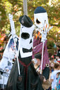 Skeleton Puppeteers Perform In Halloween Parade Stock Image