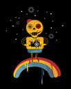 Skeleton on the rainbow vector illustration in positive style Stock Photos
