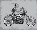 Skeleton Riding Motorcycle Vector Illustration Royalty Free Stock Photo