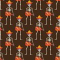 Skeleton in sambrero guitar seamless pattern. Skull Mexican repeating texture. Day of the Dead or the Halloween Endless