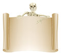 Skeleton scroll sign an illustration of a with a character pointing down at it great for halloween or other horror theme Stock Photo