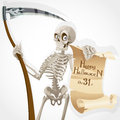 Skeleton with a scythe displays a poster Stock Photography